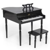 Black Childs Wood Toy Grand Piano With Bench Kids Piano 30 Key
