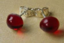 Hand Made Beautiful Red Glass and Silver Plated Studs (glass 6mm diameter)