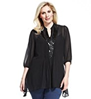 Plus Bead & Sequin Embellished Mesh Dippy Hem Tunic