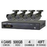 Buy Digital Peripheral QT474-411-5 Q-See 4-Channel Video Surveillance System with 4 Weatherproof Night Vision Cameras and 500 GB Hard Drive (online)