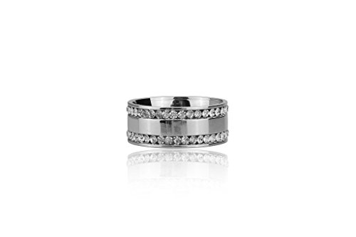 [292-0019-R-12-SLV] Stainless Steel Ring with Double Inset CZ Stone