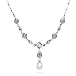 Bridal Pearl Drop Marquise Round CZ Necklace Rhodium on Sterling Silver