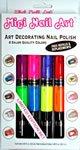 Migi Nail Art Fingernail Polish Kit – 8 Neon Colors (4 Pen-brushes)