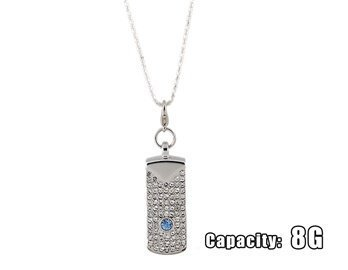 Crystal Rotating Bar Necklace 8G Usb Flash Drive (Silver)