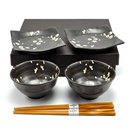 Japanese 4 Pc Rice Bowl and Plate Set w/Chopsticks