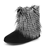 M&S Collection Faux Fur Boot Slippers