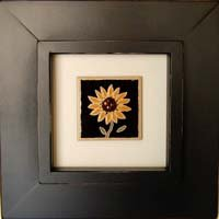 Black Wood Shadow Box Frame with Hand-Painted Sunflower Tile - Rustic Wall Decor or Unique Gift, 8x8 opening.