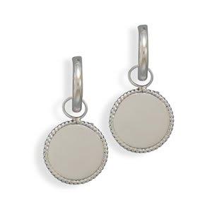 Sterling Silver Engravable Rope Design Hoop Earrings