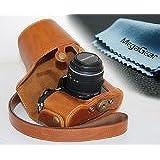 MegaGear Etui souple en cuir pour, Housse pour Olympus OM-D E-M10 avec 14-42mm (Brun Clair)