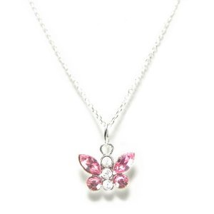 Child's Necklace Swarovski Crystal Pink Butterfly in Sterling Silver