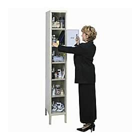 "Hallowell USVP14824WMAPT Parchment Steel Safety-View Plus Locker, 4 Wide Wall Mount, 48"" Width x 78"" Height x 18"" Depth, Assembled"