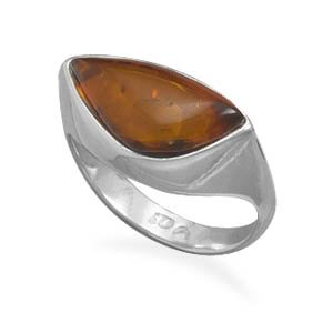 Sterling Silver Abstract Triangle Amber Ring / Size 7