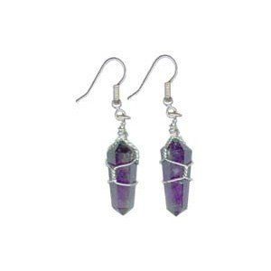 Quartz Amethyst Crystal Terminated Points Point Healing Wire Wrapped Sterling Silver Earrings