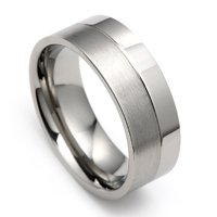 High Polished and Brushed Titanium Ring For Men