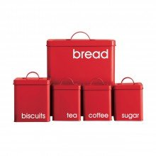 5 Piece rectangular RED ENAMEL KITCHEN STORAGE SET Bread Bin, Biscuit jar and Tea, Coffee and Sugar Jars