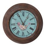 Round Iron Wall Clock With Bird front-753441