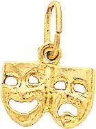 14K Gold Comedy & Tragedy Charm Smile Now Cry Later