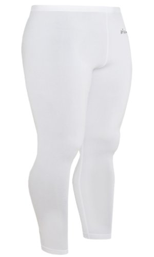 Emfraa Skin Tight Compression Leggings Running Base Layer Pants Men Women White Xs ~ XL