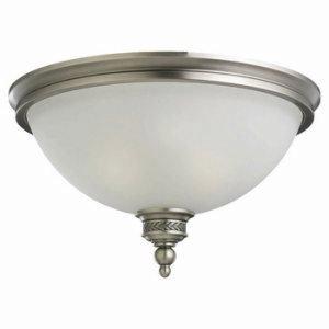 Sea Gull Lighting 75350 Laurel Leaf 2 Light Flush Mount Ceiling Fixture, Antique Brushed Nickel