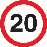 Reflective Road Traffic Sign - 20mph Maximum Speed (3mm aluminium) 300mm dia - For wall mounting