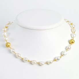 Sterling Silver and Vermeil White Pearl Necklace - 16 Inch - Lobster Claw - JewelryWeb