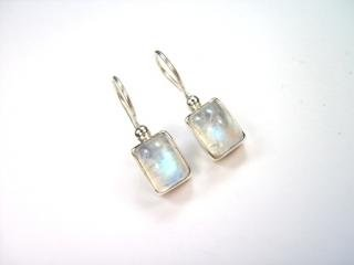 Beautiful Things for Women Rainbow Moonstone Gemstone (Bursting with Blue Fire) Stamped 925 Sterling Silver Drop Earrings 2.4 cm in length and each earring weighs 2 g