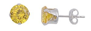 .925 Sterling Silver Yellow Color Round Cz Stud Earrings (7)mm