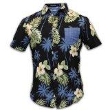 Raging Rooster - Herren Männer Kurzärmeliges Hawaii Muster Hemd - Schwarz, M
