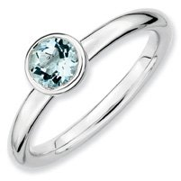 0.49ct Silver Stackable Low 5mm Round Aquam. Ring. Sizes 5-10 Available