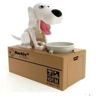 Barkly the Banker White Dog Puppy Piggy Bank Toy Coin Munching Battery Operated