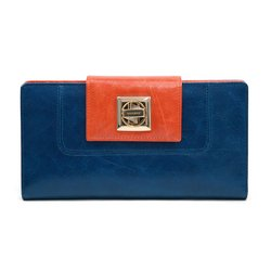 Women's Two-toned Genuine Leather Checkbook Wallet w/ Twist Lock Closure - Blue/Orange Color: Blue/Orange