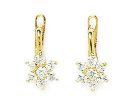 14ct Yellow Gold April Birthstone Clear 1.5mm CZ Flower Leverback Earrings - Measures 13x6mm