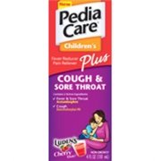 Pediacare childrens plus cough and sore throat liquid, cherry flavor - 4 oz