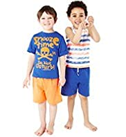2 Pack Skull & Striped Short Pyjamas