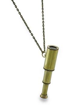 Extending Adventurer Telescope Brass Finish Steampunk Necklace