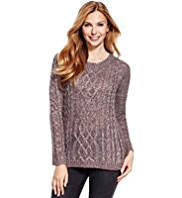 M&S Collection Sequin Embellished Cable Knit Jumper with Wool