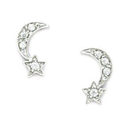 14ct White Gold CZ Crescent Moon With a Star Screwback Earrings - Measures 10x6mm - JewelryWeb