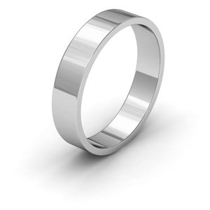 9ct White Gold, 4mm Wide, Flat Shape Wedding Ring