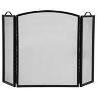 Three Panel Fireplace Screen Black by Homebasix
