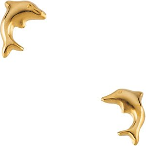 14K Yellow Gold CHILDRENS DOLPHIN EARRING - PAIR 08.25X05.75 MM