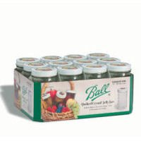 Ball Jar Crystal Jelly Jars with Lids and Bands, 12-Ounce, Quilted, Set of 12