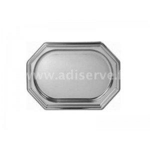 3 plats argent plastique jetable octogonaux 36 x 24 cm