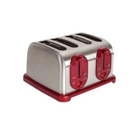 Kalorik TO30865 1500-Watt Red-Metallic 4-Slice Toaster