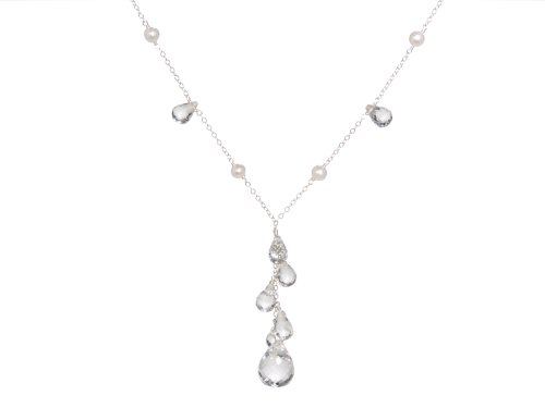 Sterling Silver White Freshwater Cultured Pearl and Crystal Cluster Drop Necklace, 16