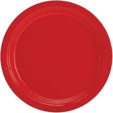Amscan Big Party Pack 50 Count Plastic Dessert Plates, 7-Inch, Apple Red