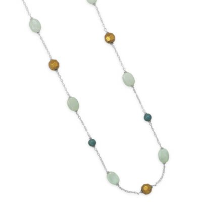 Extra Long Endless Station Necklace Green Turquoise, Amazonite Sterling Silver Chain
