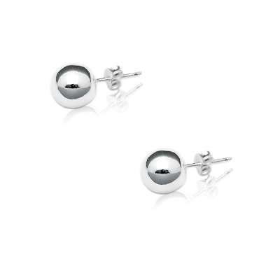Simple Stud Earrings Crafted in Flawless 925 Sterling Silver with 10mm Bead Style(WoW !With Purchase Over $50 Receive A Marcrame Bracelet Free)