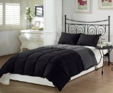 Chezmoi Collection 2-Piece Super Soft Goose Down Alternative Reversible Comforter Set, Twin X-Large, Black Grey