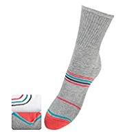 2 Pairs of Cotton Rich Freshfeet™ Striped Ankle High Sports Socks with StayNEW™