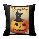 Decorative Cotton 18 X 18 Twin Sides A Merry Halloween, Vintage Black Cat In Pumpkin Pillowcase